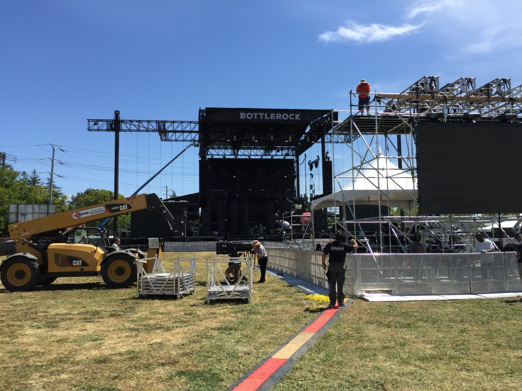 Constructing the main stage at BottleRock. Photo: David Kerns