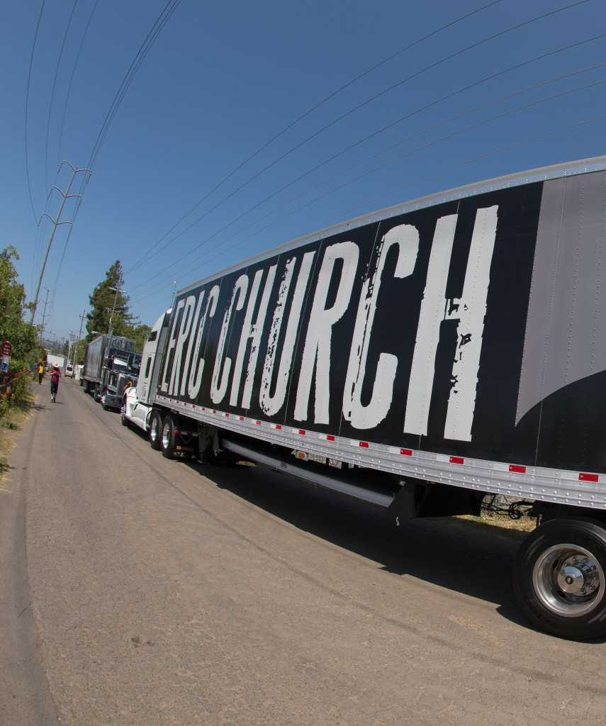 The backstage big-rig caravan at BottleRock 2014. Photo: Bob McClenahan