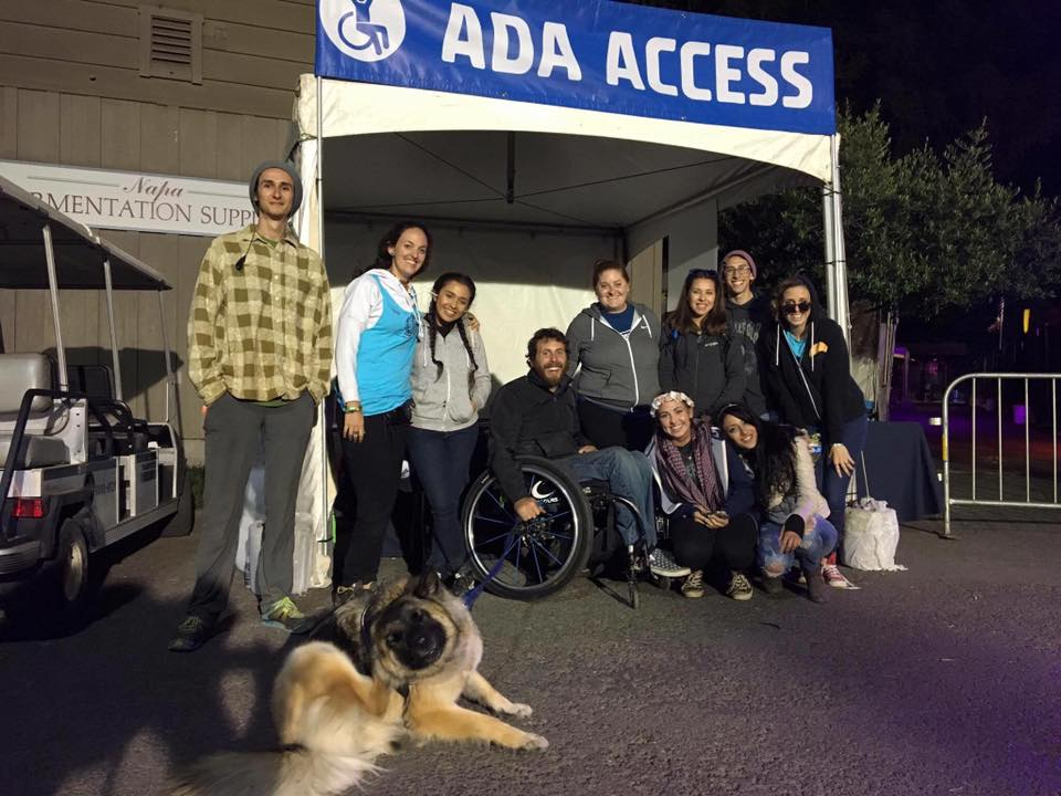Austin Whitney (center) and the Accessible Festivals team at BottleRock 2016